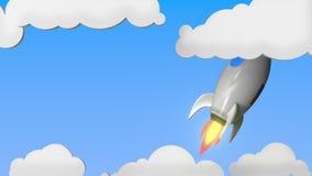 Raket med flaggan av Ryssland flyger i himlen Rysk släkt loopable rörelsebakgrund för framgång eller för rymdprogram stock illustrationer