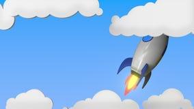 Raket med flaggan av Ukraina flyger i himlen Ukrainsk släkt loopable rörelsebakgrund för framgång eller för rymdprogram royaltyfri illustrationer