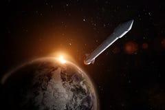 Raket ongeveer om aarde in onbekend, elementen van dit te verlaten stock foto's
