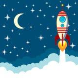 Raket op de maanachtergrond, vectorillustratie Stock Afbeelding