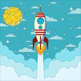 Raket op de maanachtergrond, vectorillustratie Royalty-vrije Stock Fotografie