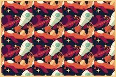 Raket, planeet en vliegtuig in ruimte, naadloos patroon Royalty-vrije Stock Foto