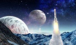Raket in ruimte Gemengde media Stock Afbeeldingen