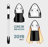 Raket, ruimteambacht geïsoleerde reeks 2019 Maart, 2 raket lancering Vectorafficheruimteschip Ruimteschip geïsoleerde beeldverhaa vector illustratie