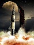 Raket till moonen stock illustrationer