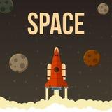 Raket vectorillustratie dat in heelal vliegt Stock Foto's