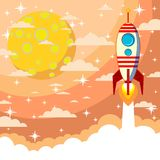 Rakete auf dem Mondhintergrund Lizenzfreies Stockbild