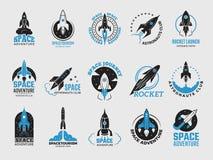 Raketembleem De ruimte satelliet retro ontdekking van de pendelmaan logotypes van geïsoleerde waarnemingscentrum vector zwarte ke stock illustratie