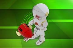 Raketenillustration des Roboters 3d Stockfotografie