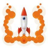 Raketenstartsymbol der Firmenneugründung Stockfoto