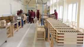 Raketexplosieven in dozen in een munitie-fabriek stock videobeelden