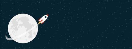 Raketflyg runt om månen Vektorillustartion med kopieringsutrymme Royaltyfria Foton