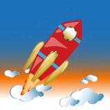 Raketflyg till och med utrymme, bakgrund royaltyfri illustrationer