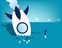 Raketneerstorting en onderneemster Concepten bedrijfstechnologie vect vector illustratie