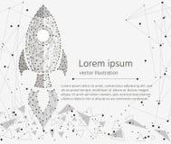 Raketopstarten, concept succes geïsoleerd van lage polywireframe op witte achtergrond Vector abstract veelhoekig beeld Royalty-vrije Stock Fotografie