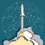 Raketruimteschip lancering en sterkaart Vector retro stijlillustratie Vector geïsoleerd beeldverhaalruimteschip en sterkaart voor vector illustratie