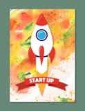 Raketschip in een vlakke stijl Vectorillustratie met 3d vliegende raket Stock Fotografie