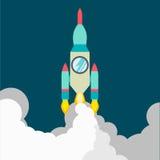 Raketschip in een vlakke stijl Vectorillustratie met 3d vliegende raket Ruimtevaart aan de maan Ruimteraketlancering Stock Foto