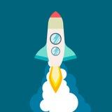 Raketschip in een vlakke stijl Vectorillustratie met het 3d vliegen Ruimtevaart aan de maan lancering Projectopstarten en royalty-vrije illustratie