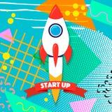 Raketskepp i en plan stil Projektet startar upp och utvecklingsprocessen Innovationprodukt, idérik idé administration Royaltyfri Bild