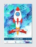 Raketskepp i en plan stil Vektorillustration med raket för flyg 3d Royaltyfri Fotografi