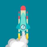 Raketskepp i en plan stil Vektorillustration med raket för flyg 3d Utrymmelopp till månen Lansering för utrymmeraket Royaltyfri Fotografi