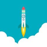 Raketskepp i en plan stil Vektorillustration med raket för flyg 3d Utrymmelopp till månen Lansering för utrymmeraket Royaltyfria Bilder