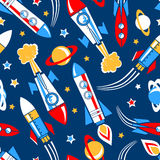 Raketten in ruimte naadloos patroon Royalty-vrije Stock Foto
