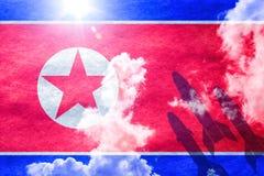 Raketten voor het noorden Koreaanse vlag Stock Afbeelding