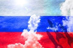 Raketten voor zonnige Russische vlag Royalty-vrije Stock Afbeeldingen