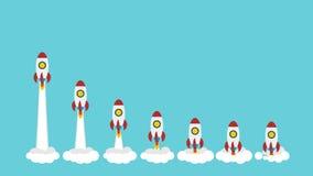 Raketutrymmeskepp tar av och flyger en och en royaltyfri illustrationer