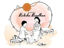 Rakhi, Indian brother and sister festival Raksha Bandhan concept.  stock illustration