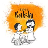 Rakhi, Indian brother and sister festival Raksha Bandhan concept.  royalty free illustration