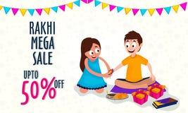 Rakhi Mega Sale Poster, insegna o aletta di filatoio Fotografia Stock