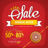 Rakhi Sale Poster, Banner or Flyer design. Rakhi Sale Poster, Sale Banner, Sale Flyer, Special Offer Sale, Flat Discount Offer, Creative Sale Background Stock Photos