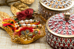 Rakhi thread with decorated boxes Royalty Free Stock Photo