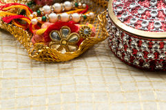 Rakhi thread with decorated boxes Stock Image