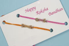 Rakhi traditional indian festival. Rakhi is decorated thread which sister ties to his brothers wrist, traditinal indian festival and culture Stock Photos