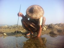 Rakhine Squid Fisher, Myanmar, Burma, spear fishing Stock Photography