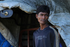 RAKHINE stan MYANMAR, LISTOPAD, - 05: Setki Muzułmański Rohingya cierpią surowego niedożywianie w zatłoczonych obozie w Myanm fotografia royalty free