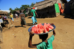 RAKHINE STATE, MYANMAR - NOVEMBER 05 : Hundreds of Muslim Rohingya are suffering severe malnutrition in overcrowded camps in Myanm. Ar's Rakhine state, on Royalty Free Stock Photography
