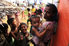 RAKHINE STATE, MYANMAR - NOVEMBER 05 : Hundreds of Muslim Rohingya are suffering severe malnutrition in overcrowded camps in Myanm royalty free stock photo