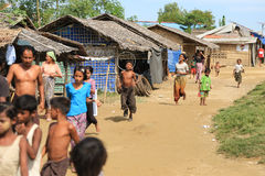 RAKHINE STATE, MYANMAR - NOVEMBER 05 : Hundreds of Muslim Rohingya are suffering severe malnutrition in overcrowded camps Stock Photos