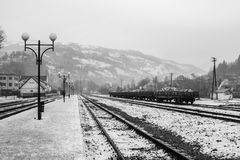 Rakhiv railway station. In the morning. In the background, the snow-covered mountains.. Carpathians. Ukraine stock images