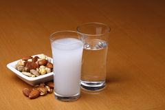 Raki e água com frutos secos Imagem de Stock