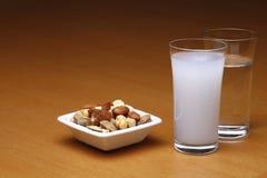 Raki ed acqua con frutta secca Fotografie Stock