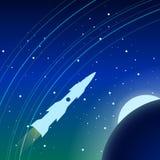 Rakieta lata w Ziemskiej ` s orbicie Ja jest widoczny ziemia księżyc i gwiazdy, Zdjęcie Stock