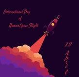 Rakieta w przestrzeni Międzynarodowy dzień Ludzki lot Zdjęcie Royalty Free