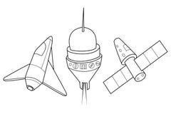 Rakieta, wahadłowiec i statek kosmiczny, Set astronautyczni statki Zdjęcia Royalty Free