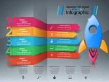 Rakietowa ikona Abstrakcjonistyczny ilustracyjny infographic Zdjęcia Royalty Free